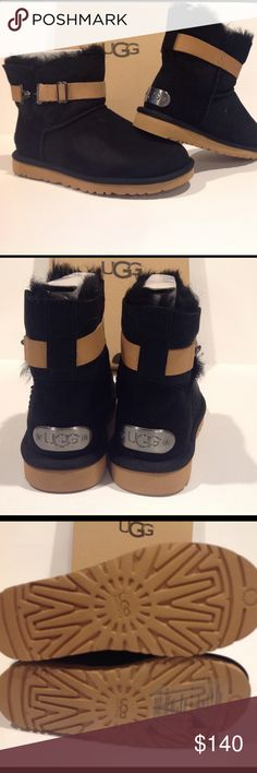 💥💥💥HP💥💥💥💥💥💥UGG booties. New in box Tan leather straps. Natural sole. Black lining. Brand new. UGG Shoes