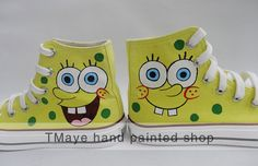 Spongebob cartoon Shoes hand painted shoes painted on by TMaye, $45.99