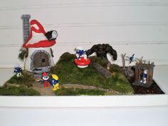 Gestörte Idylle im Schlumpfdorf Diorama, Christmas Nativity, Dioramas
