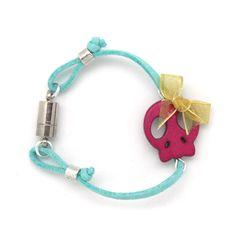 Swede bracelet skull and bow. Pulsera de ante silueta calavera con lazo » Torques Complementos. Venta online de complementos de moda