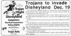 An advertisement for a Disneyland concert at night, with the Carpenters & friends on the bill. The concert took place on December 19, 1974.