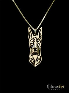 Great dane jewelry  gold pendant and by SiberianArtJewelry on Etsy