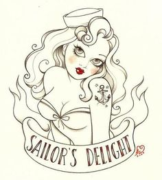 drawings of navy pin ups | anchor, drawing, nautical, pin up, sailor - inspiring picture on Favim ...