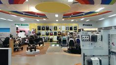 Showroom Design, Prams, Baby Store, Baby Boutique, Store Design, Plywood, Baby Car, Car Seats, Kids