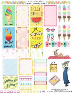Free printable planner stickers ✯ Summer Time