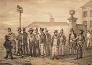 Convicts and the British colonies in Australia. Augustus Earle (1793-1838), A government jail gang, Sydney, NSW, 1830.