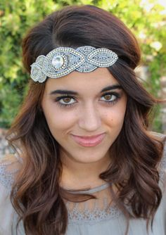 "Amazon.com : Pink Pewter ""Poppy"" Silver Beaded Headband Stretch Band #pinkpewter  http://www.amazon.com/gp/product/B00J8PLO0S"