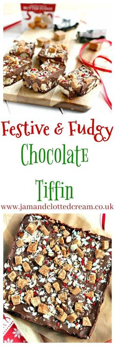 A festive chocolate tiffin recipe with shortbread biscuits, fudge, glace cherries and Christmas sprinkles. Mini Christmas Cakes, Christmas Sprinkles, Christmas Food Gifts, Xmas Food, Christmas Chocolate, Christmas Cooking, Christmas Desserts, Christmas Recipes, Christmas Ideas