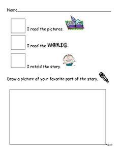 Reading Response Kindergarten Worksheet 3 ways to read a book - JoAnn Speidel - TeachersPayTeachers.com