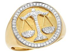 Mens 10K Yellow Gold Libra Scales Zodiac Diamond Pinky Ring 0.35 Ct 20MM RNG-32648-31