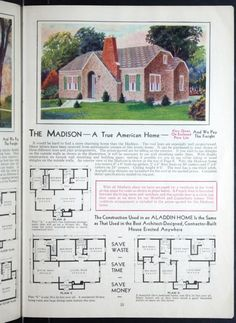 The Madison 1931 Aladdin Homes. This looks like it could be the model of the old Ivins home in Lund. It was brought in on a train. The Plan, How To Plan, English Cottage Style, Cottage Style Homes, Vintage House Plans, Vintage Houses, Brick Cottage, Craftsman Style House Plans, Traditional House