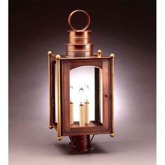 Large Dark Brass Paul Revere Post-Mount Lantern with Clear Seedy Glass - (In Dark Brass w/ Clear Seedy Glass)