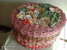 Поделка изделие Плетение коробочки Бумага газетная фото 2