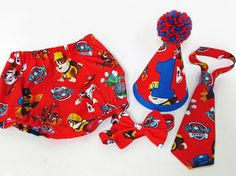 Boys cake smash outfit Paw Patrol first birthday set Hat Tie
