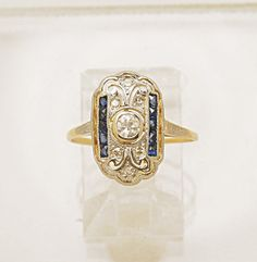 0.10ct. Diamond Sapphire and 18K Yellow by GesnerEstateJewelry, $970.00