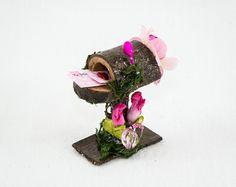 Whimsical Pink and Fuchsia Fairy Mailbox, Fairy Mailbox, Fairy Garden Item, Fairy Accessories, Faerie Decor,Fairy Valentine, Mini Valentines