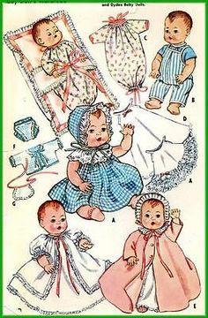 Baby Girl Dress Patterns, Doll Dress Patterns, Baby Clothes Patterns, Doll Sewing Patterns, Baby Patterns, Vintage Sewing Patterns, Clothing Patterns, Sewing Doll Clothes, Baby Doll Clothes