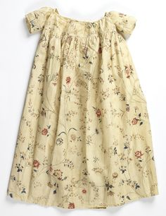 Child's Dress, late 18th century This beautiful India chintz would have used mordant and resist dying along with mordant painting to achieve the complex shades and depth of design - Angela