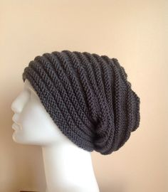 Men Grey Slouchy Knit Hat   Unisex  Gray Chunky by ForYouDesign