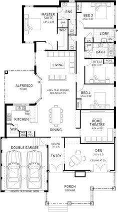 Southern, Single Storey Floor Plan, WA - just needs a few tweaks. 4 Bedroom House Plans, Dream House Plans, House Floor Plans, Home Decor Bedroom, Single Storey House Plans, 1 Story House, House Plans Australia, House Blueprints, Architecture Plan