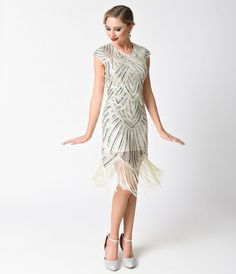 54060b196cb 1920s Style Ivory   Silver Sequin Mesh Cap Sleeve Fringe Flapper Dress  Fringe Flapper Dress