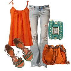 I'd use less grunged up jeans but oh my god CUTE!!  Aqua and Orange, created by jliz516 on Polyvore