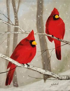 Winter Painting, Winter Art, Canvas Background, Gray Background, Christmas Paintings, Learn To Paint, Bird Art, Painting & Drawing, Airbrush Painting
