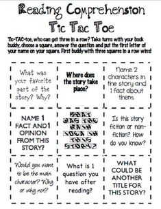 Reading Comprehension Tic Tac Toe by Katelyn Peoples Patterson Reading Comprehension Games, Reading Strategies, Reading Activities, Reading Skills, Teaching Reading, Guided Reading, Fluency Games, Reading Worksheets, Reading Homework