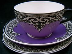 maling art deco inspired lavender tea cup with black and white design with matching saucer Purple Love, All Things Purple, Shades Of Purple, Deep Purple, Chocolate Cafe, Chocolate Pots, Tea Cup Saucer, Tea Cups, Malva