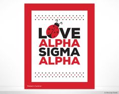 ASA Alpha Sigma Alpha Love Ladybug Sorority Poster Wall Print Dorm