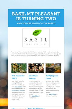 BASIL MT PLEASANT IS TURNING TWO