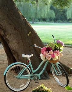 basket of flowers on a bicycle