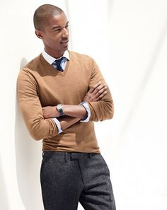 J.Crew men's Ludlow spread collar shirt and merino sweater.