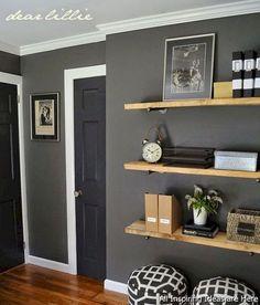 57 Ideas for vintage bedroom decor diy floating shelves Home Decor Shelves, Diy Wall Shelves, Shelving, Glass Shelves, Book Shelves, Vintage Bedroom Decor, Diy Room Decor, Grey Walls Living Room, Gray Walls
