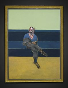 """Francis Bacon - Study for Portrait of P.L. - 1962 - Sotheby's - 78x57"""" - $40,000,000. Note simple modern gold frame which Bacon preferred for his work, green matting to match colors in image."""