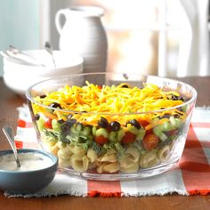 Layered Veggie Tortellini Salad Recipe -Tortellini and a Parmesan dressing give this layered salad an unexpected twist. It's great for a potluck. —Dennis Vitale, New Preston, Connecticut Potluck Recipes, Vegetarian Recipes, Cooking Recipes, Quick Dinner Recipes, Quick Meals, Summer Recipes, Funeral Food, Sauces, Tortellini Salad