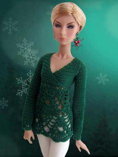 Crochet doll sweater