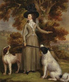 Yale Center for British Art: George Haugh, The Countess of Effingham with Gun and Shooting Dogs, 1787 Riding Habit, Google Art Project, 18th Century Costume, 18th Century Fashion, Dog Paintings, Vintage Paintings, Dog Art, Oeuvre D'art, Art Google