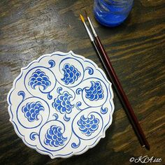 """~~~~~~~~~~~~~~~~~~ Turkish tea cup saucers and small bowl befor firing.(my work) 今日のお仕事。焼成前のトルコ紅茶グラス用の受け皿と小さな碗です Design: Edirne Muradiye Mosque…"""