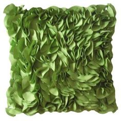 """Outdoor pillow with  textured floral detail in leaf.   Product: PillowConstruction Material: PolyesterColor: LeafFeatures:  Insert includedSuitable for indoor or outdoor use Dimensions: 18"""" x 18"""" Cleaning and Care: Spot clean"""