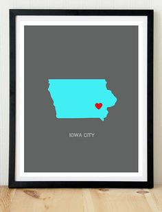 Iowa City Iowa City print Iowa print Iowa by SweetPaperPrints, $9.99