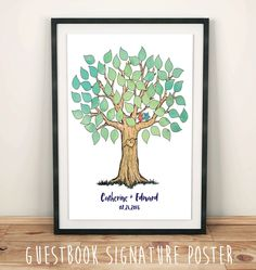 """Signature Tree for Wedding- Printable Illustrated Wedding Tree Poster, Guestbook Alternative, 11x14"""", 16x20"""" custom by FoxyPrintables on Etsy"""
