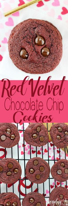 Just in time for Valentine's Day, these Red Velvet Chocolate Chip Cookies are rich, and loaded with dark chocolate chips!   EverydayMadeFresh.com http://www.everydaymadefresh.com/red-velvet-chocolate-chip-cookies/