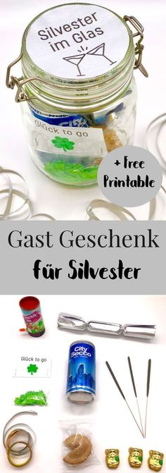 DIY Idee für ein einfaches Gastgeschenk oder Silvester MitbringselThanks for this post.DIY ideas for New Years Eve. So you make the ideal guest gift or souvenir easily and quickly yourself. This gift idea in a glass is sure to be # DIY Diy Silvester, Silvester Party, Gifts For Husband, Gifts For Mom, Diy Gifts For Christmas, Centerpiece Christmas, Diy 2019, Ideias Diy, Guest Gifts