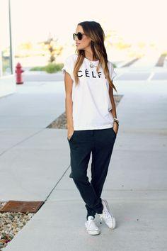 Love how she made sweat pants look so stylish :)