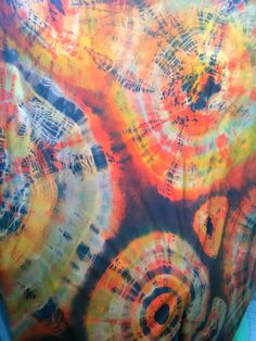 Triple tie dye with Dylon on 100% cotton fabric.
