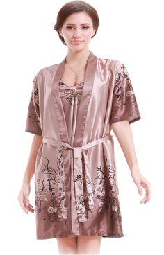 ff9b8a9163 Olivery Womens Faux Silk Sleepwear with Top   Crop Pants Gorgeous Floral  Nightgown Bath Pajamas Set Blue XL