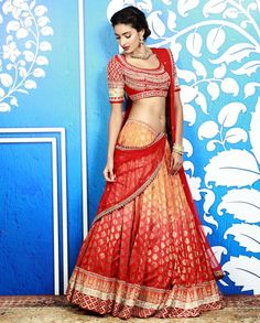 Ombre Peach and Red Lengha Set with Gota Embroidery - Anita Dongre - Designers