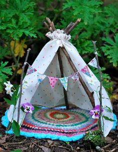 A little fairy tent in the garden :-) More
