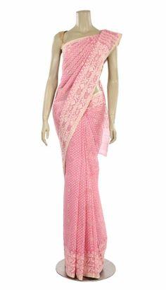 Pastel Pink Cotton Jamdani Saree - Saree - Women